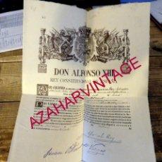Militaria: 1927, NOMBRAMIENTO DE UN CAPITAN DE INFANTERIA, FIRMA ALFONSO XIII, O'DONNELL Y CARLOS DE BORBON. Lote 177126993