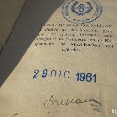 Militaria: CENSO DE VEHÍCULOS SUJETOS A REQUISA MILITAR. SEVILLA 1961.. Lote 177291344