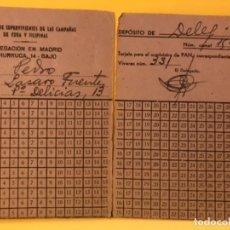 Militaria: TARJETA SUMINISTRO PAN ASOCIACION DE SUPERVIVIENTED DE LAS CAMPAÑAS DE CUBA Y FILIPINAS . Lote 177691093