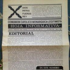 Militaria: HOJA INFORMATIVA, COMUNION CATOLICO MONARQUICA LEGITIMISTA- MARZO1988 - CARLISMO, CARLISTA, REQUETES. Lote 177808113