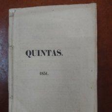 Militaria: QUINTAS 1851 - SERVICIO MILITAR - REEMPLAZO. Lote 178213043