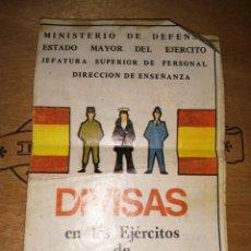 Militaria: TRÍPTICO MINISTERIO DE DEFENSA - ESTADO MAYOR DEL EJERCITO - DIVISAS EJERCITOS DE TIERRA MAR Y AIRE. Lote 178930568