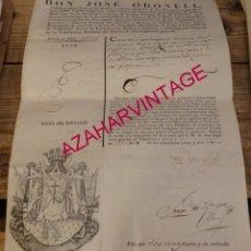 Militaria: 1828, CONCESION DE PASAPORTE A UN TENIENTE CORONEL, FIRMADO JOSE O-DONELL. Lote 179237238