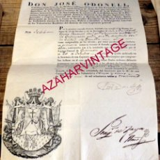 Militaria: VALLADOLID, 1830, LICENCIA ILIMITADA A TENIENTE CORONEL,FIRMA JOSE O-DONELL. Lote 179237581