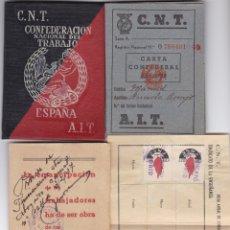 Militaria: CARNET C.N.T. SINDICATO ENSEÑANZA AÑO 1938 VER FOTOS ADICIONALES DE TODOS LOS DOCUMENTOS . Lote 179313963