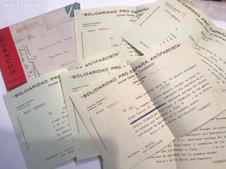 DOCUMENTACIÓN Y CARTAS COMITE CENTRAL DE COORDINACIÓ. SOLIDARIDAD PRO-ESPAÑA ANTI FASCISTA. G. CIVIL (Militar - Propaganda y Documentos)