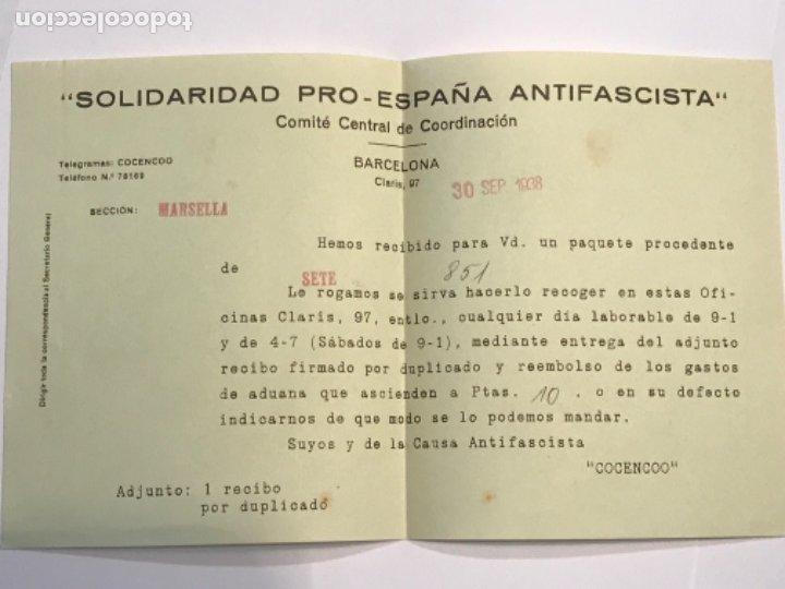 Militaria: DOCUMENTACIÓN Y CARTAS COMITE CENTRAL DE COORDINACIÓ. SOLIDARIDAD PRO-ESPAÑA ANTI FASCISTA. G. CIVIL - Foto 5 - 179314507