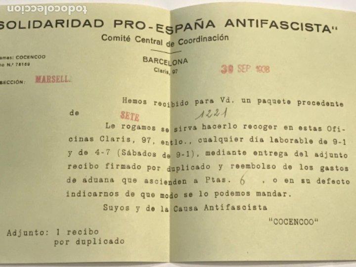 Militaria: DOCUMENTACIÓN Y CARTAS COMITE CENTRAL DE COORDINACIÓ. SOLIDARIDAD PRO-ESPAÑA ANTI FASCISTA. G. CIVIL - Foto 8 - 179314507