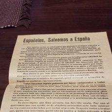 Militaria: PANFLETO GUERRA CIVIL ESPAÑOLES, SALVEMOS ESPAÑA ¡VIVA ESPAÑA CRISTIANA !. Lote 179555535