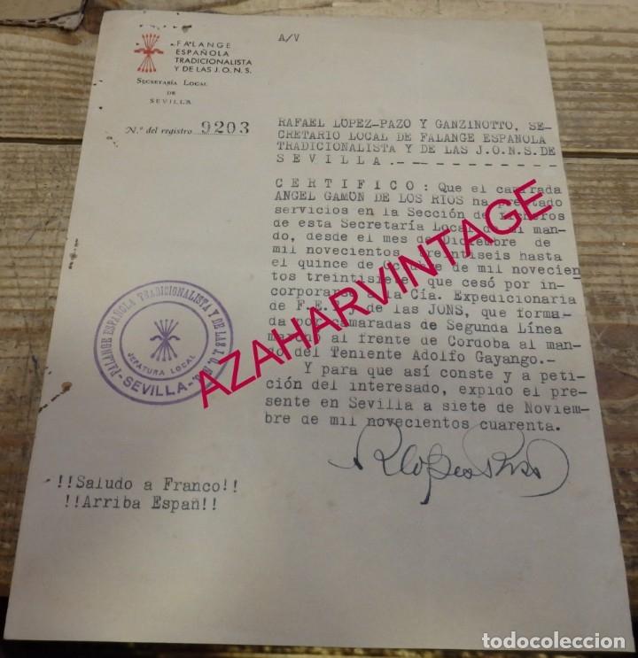 SEVILLA, 1940, CERTIFICADO EMITIDO A UN FALANGISTA DEL FRENTE DE CORDOBA, FIRMADO RAFAEL LOPEZ-PAZO (Militar - Propaganda y Documentos)