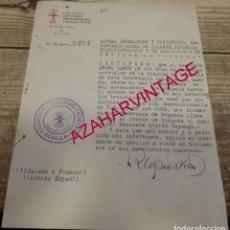 Militaria: SEVILLA, 1940, CERTIFICADO EMITIDO A UN FALANGISTA DEL FRENTE DE CORDOBA, FIRMADO RAFAEL LOPEZ-PAZO . Lote 180120461