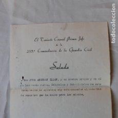 Militaria: SALUDA TENIENTE CORONEL 235 COMANDANCIA GUARDIA CIVIL, MURCIA.1966. Lote 180456518