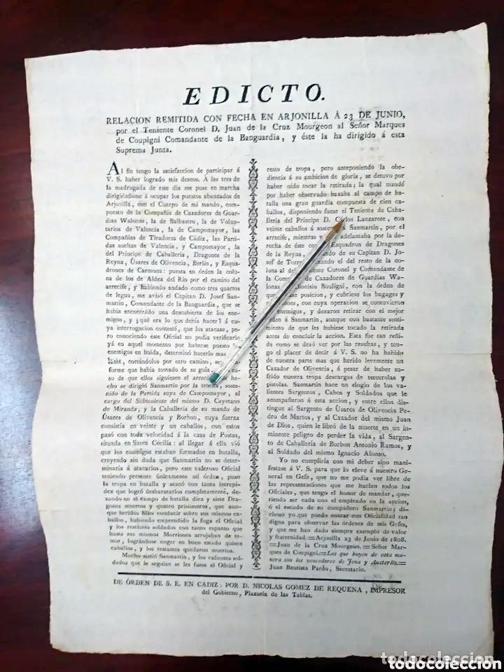 BAILEN - ARJONILLA - BANDO GUERRA DE LA INDEPENDENCIA - 1808 EDICTO CON LA VICTORIA DEL COMBATE (Militar - Propaganda y Documentos)