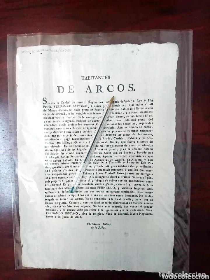 BANDO GUERRA DE LA INDEPENDENCIA - 1808 ARCOS DE LA FRONTERA - -ANDALUCIA (Militar - Propaganda y Documentos)