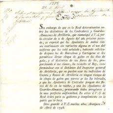 Militaria: CIRCULAR SOBRE DISTINTIVOS DE LOS CONTROLADORES Y GUARDA-ALMACENES DE ARTILLERIA DE CATALUÑA. Lote 180941182