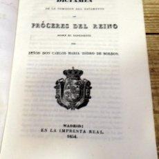 Militaria: CARLISMO, 1834, DICTAMEN PROCERES DEL REINO SOBRE EXPENDIENTE DE DON CARLOS MARIA ISIDRO DE BORBON. Lote 181698970