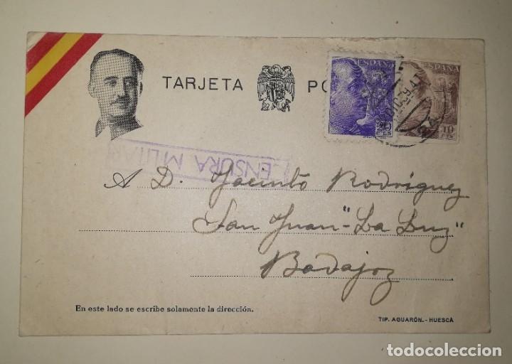 TARJETA POSTAL CON CENSURA.EPOCA GUERRA CIVIL ENVIADA A BADAJOZ, AÑO 1939 (Militar - Propaganda y Documentos)