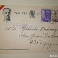 Militaria: TARJETA POSTAL CON CENSURA.EPOCA GUERRA CIVIL ENVIADA A BADAJOZ, AÑO 1939. Lote 182208141