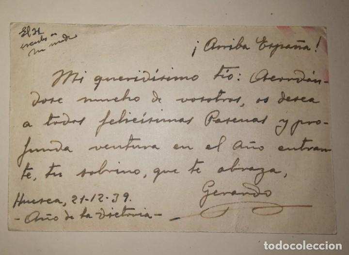 Militaria: TARJETA POSTAL CON CENSURA.EPOCA GUERRA CIVIL ENVIADA A BADAJOZ, AÑO 1939 - Foto 2 - 182208141