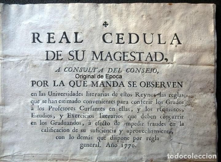 Militaria: (JX-191120)Real Cédula , Carlos III , 1770 , reimpresa en la Universidad de Cervera . - Foto 2 - 182493598