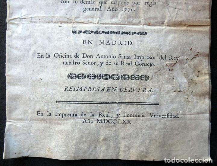 Militaria: (JX-191120)Real Cédula , Carlos III , 1770 , reimpresa en la Universidad de Cervera . - Foto 3 - 182493598