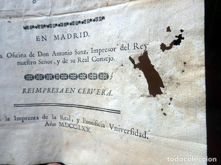 Militaria: (JX-191120)Real Cédula , Carlos III , 1770 , reimpresa en la Universidad de Cervera . - Foto 4 - 182493598