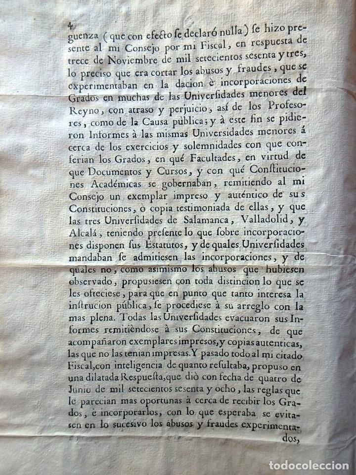 Militaria: (JX-191120)Real Cédula , Carlos III , 1770 , reimpresa en la Universidad de Cervera . - Foto 8 - 182493598
