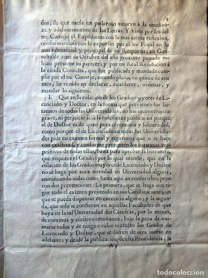Militaria: (JX-191120)Real Cédula , Carlos III , 1770 , reimpresa en la Universidad de Cervera . - Foto 9 - 182493598