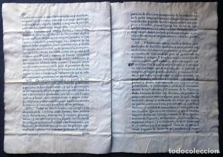 Militaria: (JX-191120)Real Cédula , Carlos III , 1770 , reimpresa en la Universidad de Cervera . - Foto 16 - 182493598