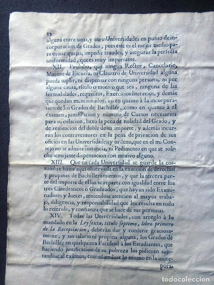 Militaria: (JX-191120)Real Cédula , Carlos III , 1770 , reimpresa en la Universidad de Cervera . - Foto 17 - 182493598