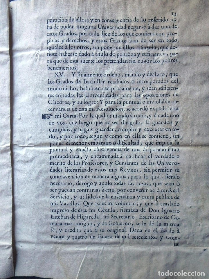 Militaria: (JX-191120)Real Cédula , Carlos III , 1770 , reimpresa en la Universidad de Cervera . - Foto 18 - 182493598