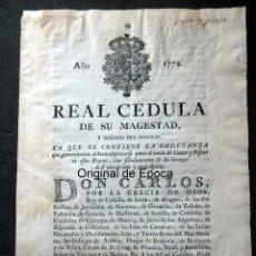 Militaria: (JX-191121)REAL CÉDULA DE SU MAJESTAD CARLOS III , AÑO 1772 .. Lote 182493805