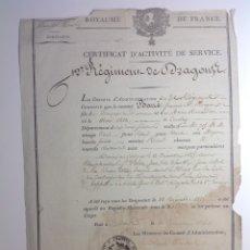 Militaria: FRANCIA AÑO 1826 * REGIMIENTO DE DRAGONES * CERTIFICADO DE SERVICIO. Lote 182778626