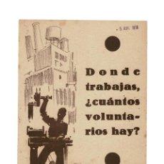 Militaria: REPÚBLICA.- 100.000 VOLUNTARIOS DE ESPAÑA. DONDE TRABAJAS CUANTOS VOLUNTARIOS HAY - FRENTE DEL EBRO. Lote 182840228