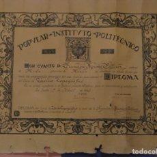 Militaria: PILOTO DE GUERRA CIVIL FRANCISCO MEROÑO PELLICER. DIPLOMA DEL INSTITUTO POLITÉCNICO DE SEVILLA. 1935. Lote 182894300