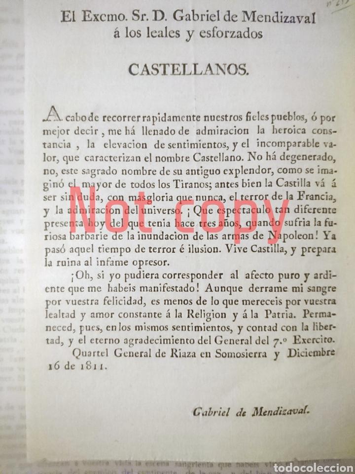 GUERRA DE LA INDEPENDENCIA - RIAZA 1811 - GENERAL MENDIZABAL (Militar - Propaganda y Documentos)