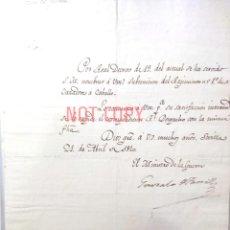Militaria: GUERRA DE LA INDEPENDENCIA - OFARRILL NOMBRAMIENTO SUBTENIENTE REGIMIENTO JOSEFINO, SEVILLA. Lote 182910777