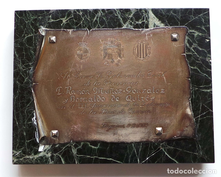 Militaria: PLACA GOBERNADOR CIVIL PROVINCIA DE GERONA.- RAMÓN MUÑOZ GONZÁLEZ Y BERNALDO DE QUIRÓS. - Foto 2 - 273940793