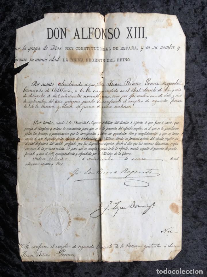 ALFONSO XIII - YO LA REINA REGENTE - SELLO EN SECO - FIRMAS- EMPLEO SEGUNDO TENIENTE DE LA RESERVA (Militar - Propaganda y Documentos)