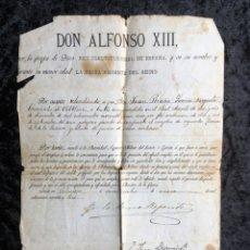 Militaria: ALFONSO XIII - YO LA REINA REGENTE - SELLO EN SECO - FIRMAS- EMPLEO SEGUNDO TENIENTE DE LA RESERVA. Lote 183177986