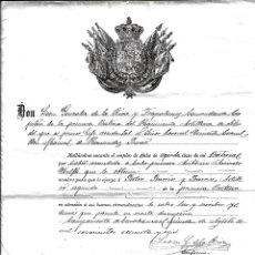 Militaria: TITULO DE ASCENSO ARTILLERO 2º DE LA PRIMERA BATERIA, REGIMIENTO DE ARTILLERIA DE SITIO- DE 1.886. Lote 183188131
