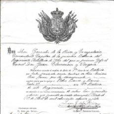 Militaria: TITULO DE ASCENSO ARTILLERO 2º DE LA PRIMERA BATERIA, REGIMIENTO DE ARTILLERIA DE SITIO- DE 1.887. Lote 183189851