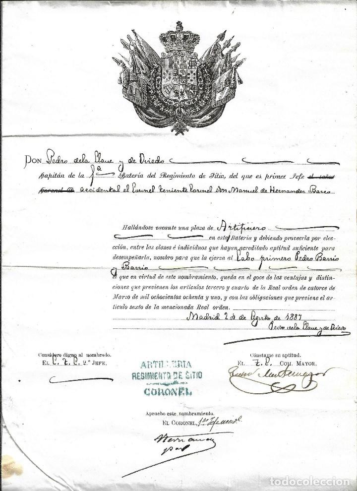 TITULO DE ASCENSO A CABO 1º REGIMIENTO DE ARTILLERIA DE SITIO- DEL 2 - 8 - 1.887 (Militar - Propaganda y Documentos)