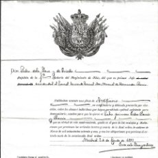 Militaria: TITULO DE ASCENSO A CABO 1º REGIMIENTO DE ARTILLERIA DE SITIO- DEL 2 - 8 - 1.887 . Lote 183190371