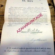 Militaria: NOMBRAMIENTO POR EL REY ALFONSO XIII DE TENIENTE ESCALA RESERVA INFANTERIA A D. SALVADOR BAÑULS,1910. Lote 183258730