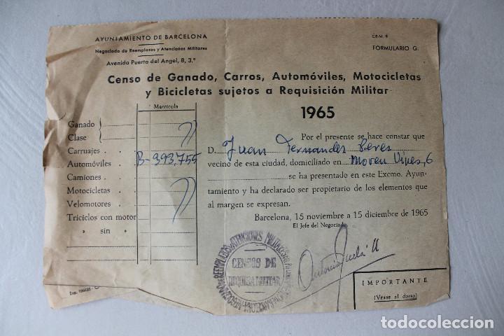 CENSO DE GANADO, CARROS, AUTOMÓVILES, MOTOCICLETAS Y BICICLETAS SUJETAS A REQUISICIÓN MILITAR (Militar - Propaganda y Documentos)