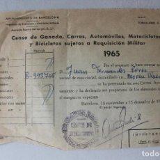 Militaria: CENSO DE GANADO, CARROS, AUTOMÓVILES, MOTOCICLETAS Y BICICLETAS SUJETAS A REQUISICIÓN MILITAR. Lote 183565112