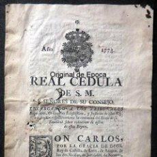 Militaria: (JX-191140)REAL CÉDULA DE SU MAJESTAD CARLOS III , AÑO 1773 .. Lote 183602630