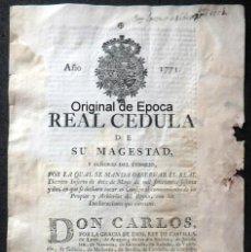 Militaria: (JX-191141) REAL CÉDULA DE SU MAJESTAD CARLOS III , AÑO 1771 .. Lote 183603203