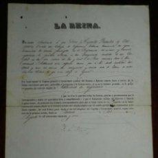 Militaria: NOMBRAMIENTO, LA REINA ISABEL II EN PALACIO AGOSTO DE 1856, NOMBRA A SUBTENIENTE DE INFANTERIA, FIRM. Lote 183671003